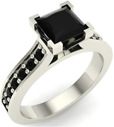 Princess Cut Black Diamond Engagement Ring White Gold 14k 1.50 Ct Tw From 7-9and039and039