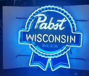 Pabst Blue Ribbon Beer Wisconsin Neon Light Up Sign Game Room Pbr Bar New