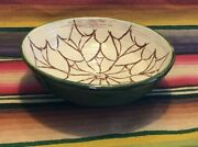 Vintage Handmade Red Clay Art Pottery Bowl W/design Stamped Hicks 8 3/4 Across