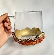 Set Of 2 Crystal Glass Coffee Tea Juice Mugs With Gold Plated Red Agate Quartz