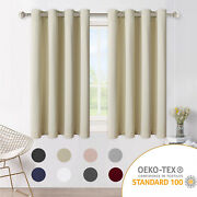 2 Panels Blackout Window Curtains Room Thermal Insulated Curtains With Grommet