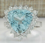 7.12 Ct Trillion Cut Natural Blue Aquamarine Real Solid 14k White Gold Ring