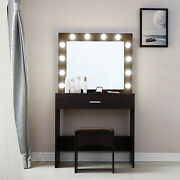 Women Vanity Set W/lighted Mirror Cushioned Stool Dressing Table Makeup Table 🔥