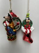2 Santa's Best Blown Glass Christmas Ornament Goofy In Red Stocking Vintage 1996