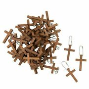 50 Cross Keychains 1.2 X 1.75 Wooden Cross Religious Key Chains