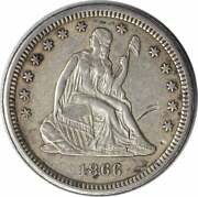 1866-s Liberty Seated Silver Quarter Ef Uncertified