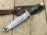 Bowie Knife Hunting Knife Wood Handle Carbon Steel Knife Hand Forged Knife