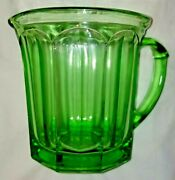 Vtg Green A And J Depression Vaseline Glass Pitcher Glows Patent Applied Ship Free