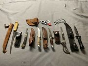Used Hunting 7 Knife Collection With Cases