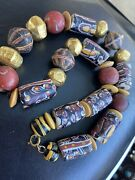 Vintage Venetian African Trade Glass Beads Necklace L 53cm