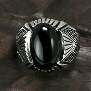 925 Sterling Silver Evil Eye Rings Antique Turkey Ring Onyx Band Women's Jewelry