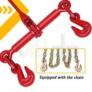 3/8 - 1/2 Ratchet Binder + 10and039and039chains Hook Tie Down Rigging Equipment