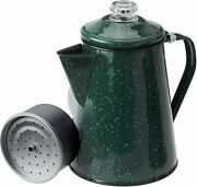 8 Cup Enamelware Percolator Coffee Pot For Brewing Coffee Over Stove And Fire