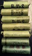 Lot Of 7 Unc Rolls Of Roosevelt Silver Dimes 1960-1963 350 Coins Free Us Ship