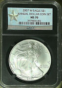 2007 W Burnished Silver Eagle From Annual Dollar Set Ngc Ms 70 - West Point ⭐️