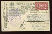 French Aviation Louis Bleriot Signed 1928 Charles Lindbergh Picture Post Card