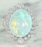 5.90 Ct Oval Cut Natural Opal Real Solid 14k White Gold Diamond Ring