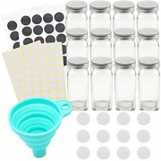 Tebery 12 Pack Spice Jars Bottles 4oz Glass Spice Jars With Silver Metal Lids,