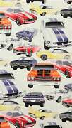 Pure Muscle Cars Fabric Digital Printed Fabric By The Yard