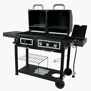 Heavy Duty Dual Fuel Gas Charcoal Combo Grill Smoker Outdoor Cooker Bbq Barbecue