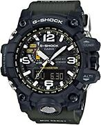 Casio Gwg1000-1a3jf Gentand039s Mudmaster World Time Green Band Watch Japan Domestic