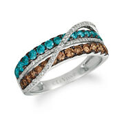 Levian 14k White Gold Round Chocolate Brown Blue Diamonds Classic Cocktail Ring
