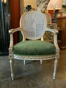 Early Century Louis Xvi Fautheuil Armchair With Caned Medalion Back