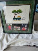 Tiger Woods 2008 Us Open Pin Flag Signed And Framed