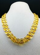 Natural Citrine Smooth Tumbled Shape Beaded Necklace Loose Genuine Citrine
