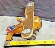 Marx Tin Litho Wind Up Toy Vintage Us Air Force Plane - Working