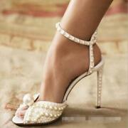 Womens Luxury Peep Toe Pearls Ankle Strap Sandals Bride Wedding Shoes High Q1219