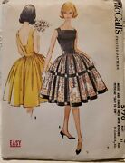 Vintage 1961 Mccalland039s 5770 Sz. 10 Sleeveless Dress With Attached Petticoat