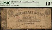 1861 5 Dollar Confederate States Currency Civil War Note Money T-12 Pmg 10