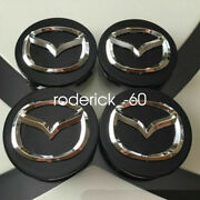 New Mazda Set Of 4 56mm Black Base Chrome Logo Wheel Center Caps Wc4pc594