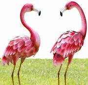 Bits And Pieces - Set Of Two 2 35 Andfrac12andrdquo Tall Metal Flamingo Garden Statues -...