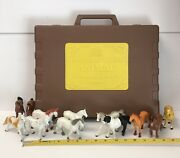 Vintage 1988 Funrise Horse Toy Lot Of 12 Figures And International Collection Case
