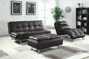 Stylish Brown Faux Leather Like Sofa Chaise Ottoman Living Room Furniture Set