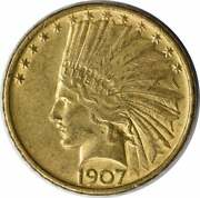 1907 10 Gold Indian No Periods Slider Au Uncertified