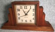 Antique Gilbert Electric Mantle Clock Stepped Wooden Case For Parts Or Repair