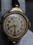 Antique Womenand039s Round Face Sussex Bracelet Watch. Black Band.