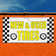 Vinyl Banner Sign New And Used Tires 1 Business Marketing Advertising White