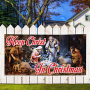 Vinyl Banner Sign Keep Christ In Christmas Business Style T Outdoor Brown