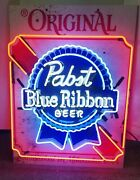 Pabst Blue Ribbon Beer Neon Light Up Sign Game Room Pbr Bar New