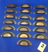 Set Of 19 Vtg Drawer Pulls Bin Cup Handles Copper Flash Japanned Apothecary B2h