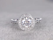2ct Round Diamond Engagement Ring Real Solid 18k White Gold Art Deco Antique
