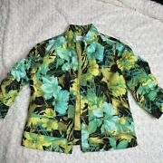 Erin London Womens Jacket Multicolor Floral Waist Length Zip Up Pockets Lined M