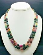 Natural Multi Tourmaline Hand Carved Nugget Shape Beaded Necklace With Closure