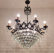Antique Vintage Brass And Crystals Giant 8 Arms Empire Chandelier Ceiling Lamp