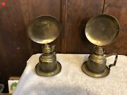 Lot Of 2 Vintage Indoor Brass Oil Lamps, English Made