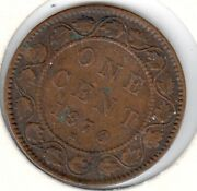 1876-h Fine Canadian Large Cent 3 Discounted For Cleaning